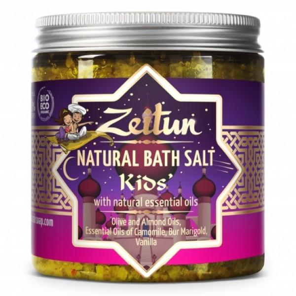 Детская соль для купания, с экстрактами ромашки, череды и ванили.
