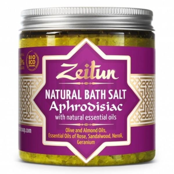 Афродизиак соль для ванн, с маслами розы, сандала, нероли, герани